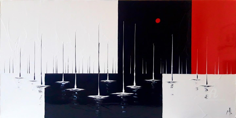 Mikha - Au mouillage, en rouge noir et blanc