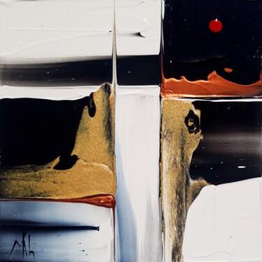 Composition en noir et blanc, cuivre et or
