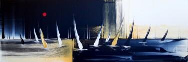 Night and day regatta in gold, black and white